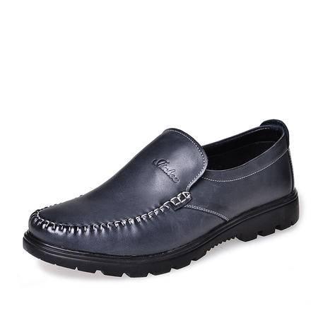 金猴 Jinho新款春秋时尚潮流简约 商务休闲 打旧款舒适透气真皮男士单鞋Q29033