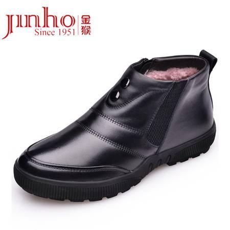 金猴 Jinho新款简约冬季保暖 商务休闲 牛皮套脚男士皮鞋 短绒低帮棉鞋Q8951