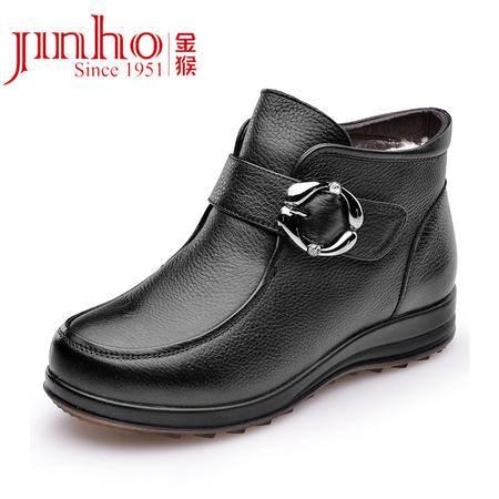 金猴 新款简约冬季保暖 皮毛一体 纯羊毛内里 妈妈鞋 矮筒舒适女踝靴 Q4974