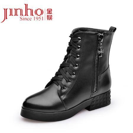 金猴 Jinho时尚潮流 日常休闲 保暖内里短绒系带低跟女士低筒马丁靴 Q4964