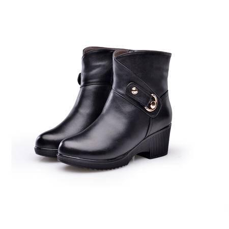 金猴 Jinho冬季保暖靓丽 日常逛街 防水台粗跟 皮毛一体 羊毛女士低筒踝靴Q4957