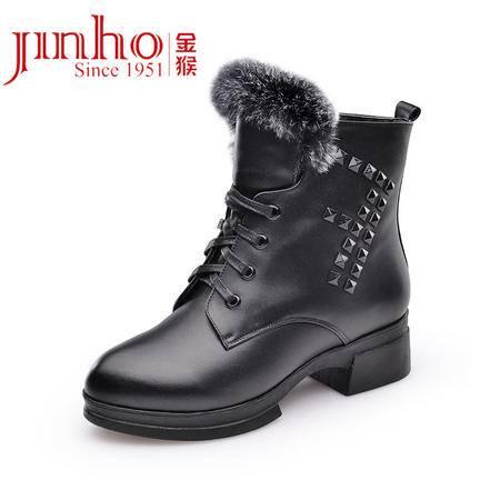 金猴 Jinho时尚帅气 真皮低跟 逛街日常系带 内里短绒保暖矮筒女士马丁靴 Q4961