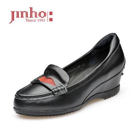 金猴 Jinho 都市休闲 内增高女单鞋 舒适透气 精致彩钻休闲鞋 Q59027A/B/C