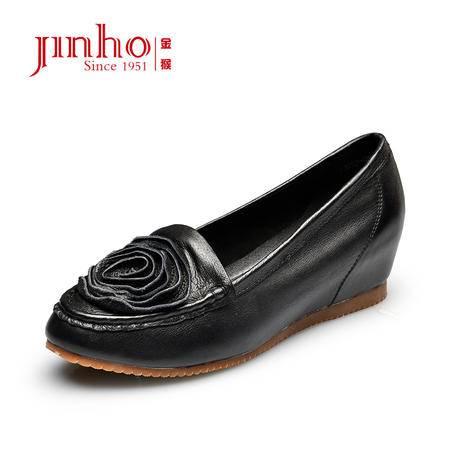 金猴 Jinho 新款春秋女单鞋 花朵装饰平底女鞋 真皮套脚耐磨 Q59034A/B/C