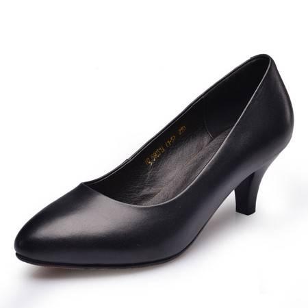 金猴春季新款时尚经高跟女鞋 OL真皮百搭女鞋高跟工作单鞋Q59031A/B