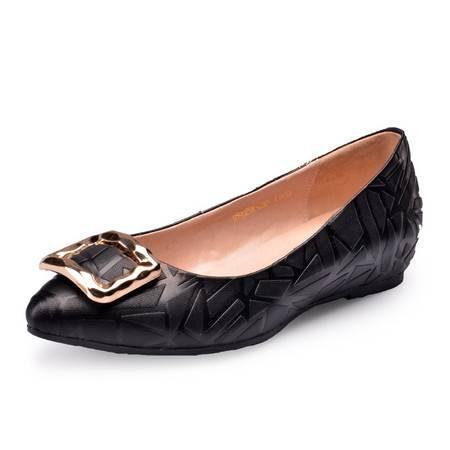 金猴女鞋新款春季羊皮压花皮格子金属装饰浅口套脚平跟女单鞋Q59029A/B/C