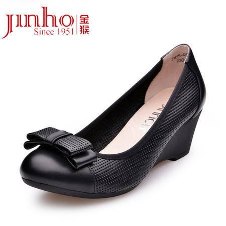 金猴 Jinho 简约浪漫真皮 牛皮橡胶春夏 坡跟休闲甜美 女单鞋Q59015A/B