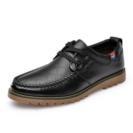 金猴 Jinho 春季新款 都市 商务休闲系带透气男款皮鞋单鞋Q20004A/Q20004B