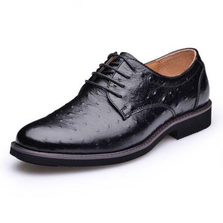 金猴 Jinho时尚潮流鸵鸟纹 商务休闲单鞋 牛皮舒适系带 男士单皮鞋 Q20006A