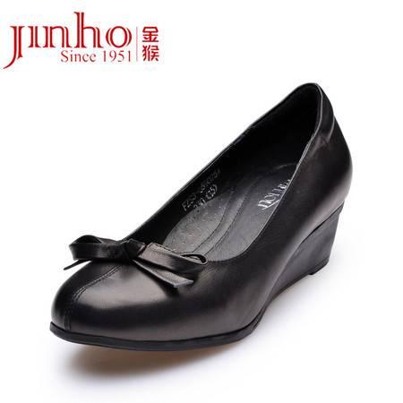 金猴 Jinho时尚舒适春款 浅口羊皮 日常休闲逛街 坡跟女士单鞋 Q59025A/B/C