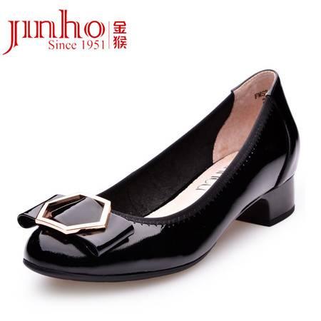 金猴 Jinho 优雅气质 牛皮金属装饰 真皮内里职业休闲套脚 女士单鞋Q59017A