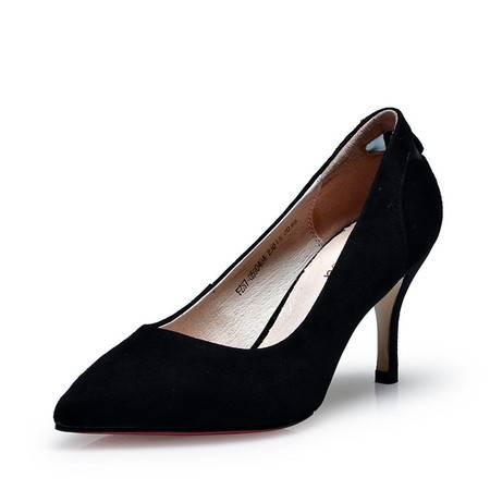 金猴正品女鞋 真皮羊皮尖头时尚高跟女鞋春季新款女单鞋Q59040A/B/C