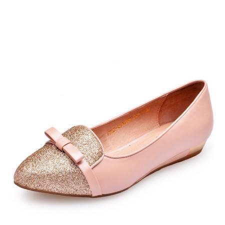金猴皮鞋新款 甜美淑女鞋 真皮皮鞋 时尚热卖女单鞋低帮鞋浅口鞋Q59043A