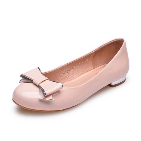 金猴皮鞋新款 甜美淑女鞋 漆皮真皮皮鞋 时尚热卖女单鞋低帮鞋Q59042A