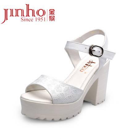 金猴皮鞋夏季新款 韩版时尚超高跟显瘦牛皮女凉鞋甜美凉鞋女 SQ6892A/B/C