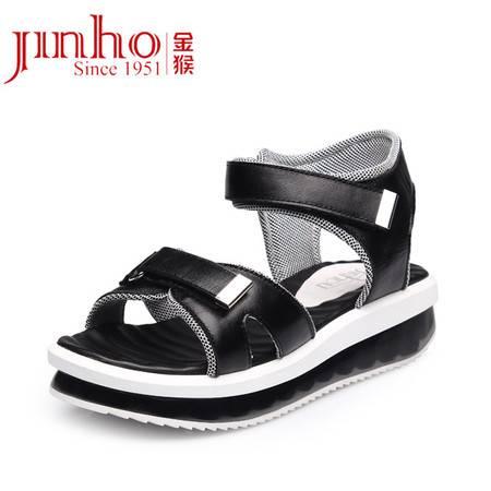 金猴皮鞋 夏季新款 韩版时尚真皮摇摇鞋 舒适显瘦热卖凉鞋女SQ6883A/B/C