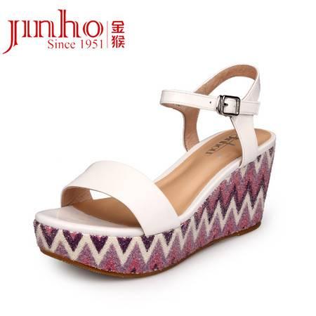 金猴皮鞋 夏季首发 真皮牛皮女士高跟坡跟凉鞋 时尚休闲凉鞋SQ6898A/B/C