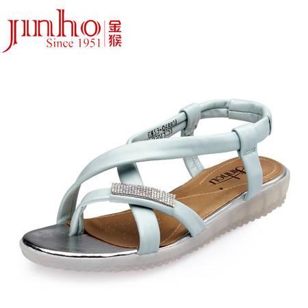 Jinho/金猴夏季新款 时尚糖果色真皮凉鞋 甜美休闲女士凉鞋 SQ6882A