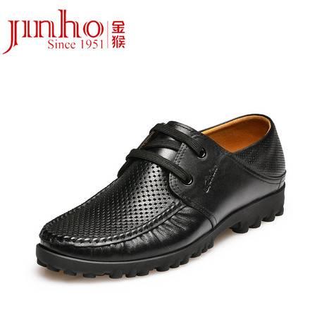 金猴皮鞋夏季新品时尚英伦商务休闲男士镂空凉鞋 牛皮凉Q30001A