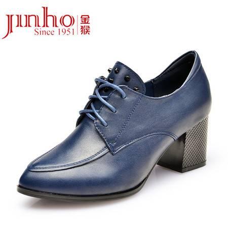 Jinho/金猴魅力高跟秋季新款通勤显瘦 牛皮真皮女单鞋 韩版单鞋女Q59049A