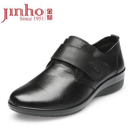 Jinho/金猴秋季新品 真皮牛皮时尚女单鞋 舒适经典轻便妈妈鞋Q15003A