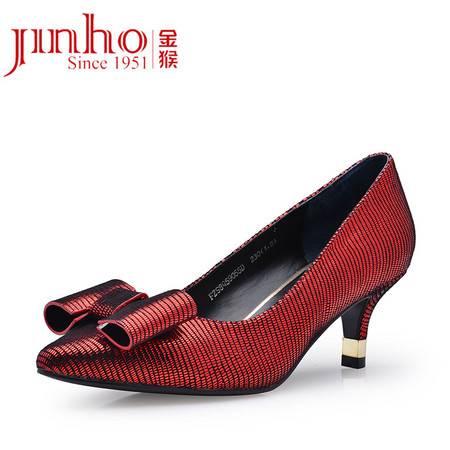 金猴 Jinho 女士羊皮真皮细跟高跟单鞋女士气质高跟鞋 Q59055C/D/E