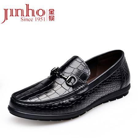 金猴 Jinho 男士商务休闲牛皮软皮橡胶底休闲鞋 Q29122A 黑色