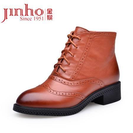 金猴 Jinho春秋马丁靴 布洛克女靴 牛皮圆头系带拉链 防水台低筒短靴 女鞋Q4993A