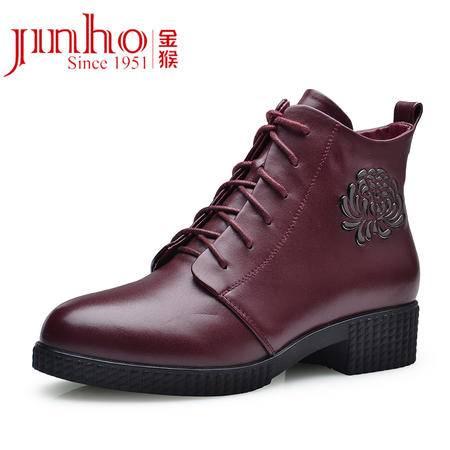 金猴 Jinho 时尚中性马丁靴 牛皮绒布保暖女靴 圆头系带 短靴花朵女皮鞋 Q4994A