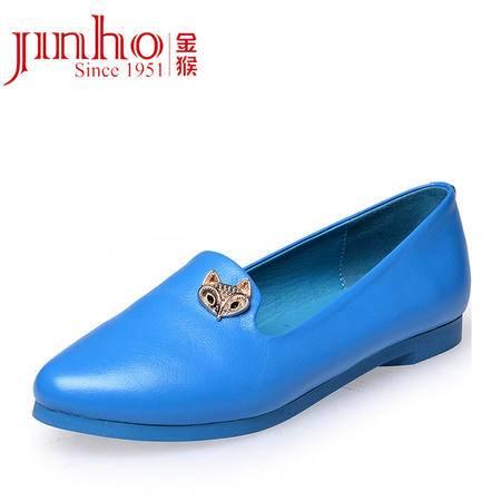金猴 Jinho新品时尚潮流 日常休闲 平跟浅口真皮低跟防滑豆豆底 女士单鞋 Q5999