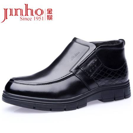 Jinhou金猴冬季男士商务休闲套脚加厚羊毛内里男棉鞋 Q8988A