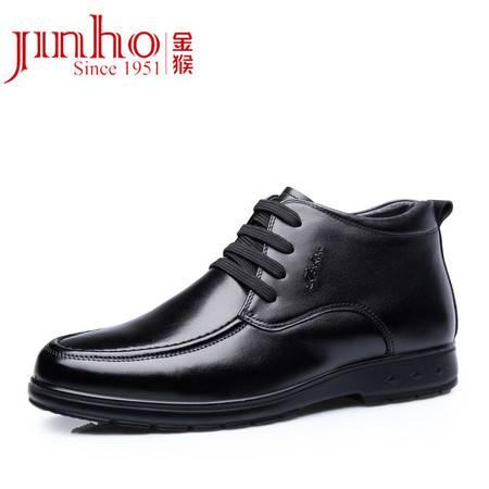 金猴 Jinho 男靴子头层牛皮休闲靴时尚棉鞋男中帮雪地靴英伦马丁靴男士冬款男鞋黑色 Q80001A
