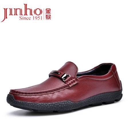金猴 Jinho新品上市 柔软舒适潮流 休闲鞋 男士牛皮套脚帆船驾车鞋 Q29164A