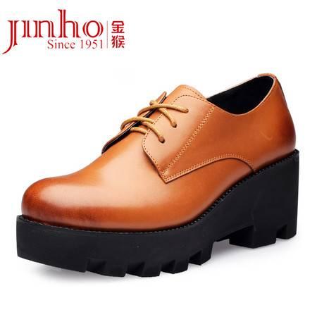 金猴 Jinho 潮流厚底粗跟防水台 时尚擦色 满帮系带休闲女单鞋 Q59079A/C/D