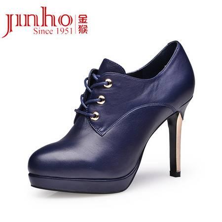 金猴 Jinho 新款春秋季女单鞋圆头系带 细高跟鞋防水台宴会约会舒适女皮鞋 Q59056A