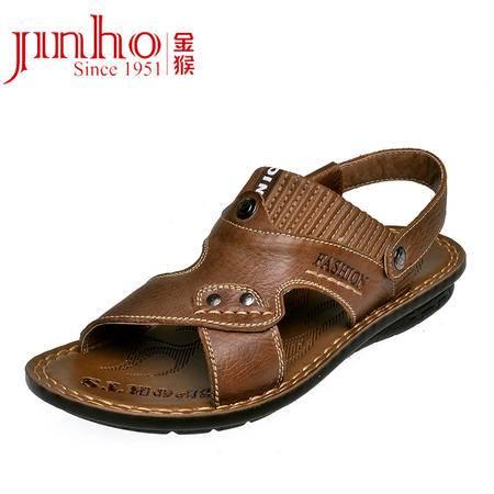 金猴 Jinho休闲沙滩鞋透气头层牛皮圆头防水舒适男凉鞋黑色 棕色Q3807