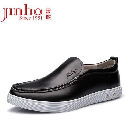 金猴 Jinho 春款新品 商务休闲 平底圆头软面皮舒适男士休闲皮鞋 Q29162A