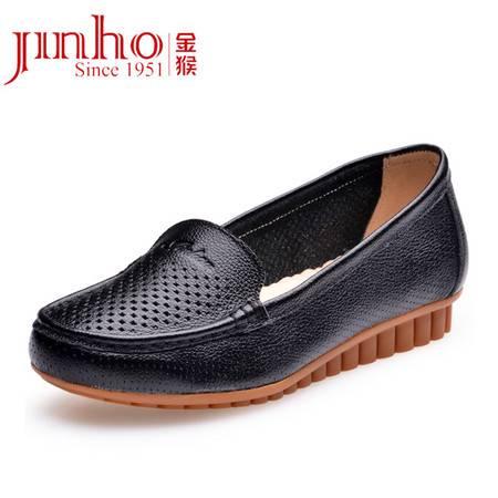 金猴 Jinho夏季真皮镂空透气平跟软底套脚女凉鞋单鞋 Q60002A