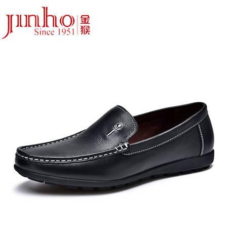 金猴 Jinho 新款 时尚休闲豆豆鞋 真皮英伦圆头套脚男单鞋 Q20030A