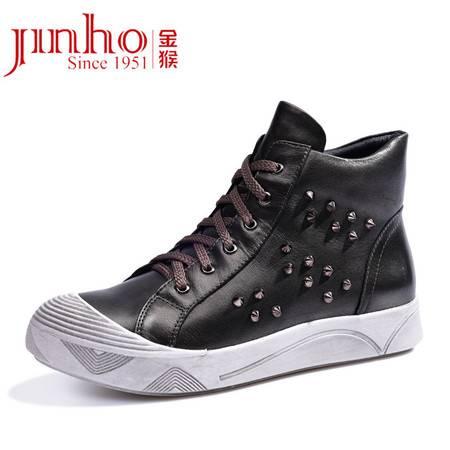 金猴高帮鞋女鞋休闲鞋平底秋冬季鞋子女系带韩版女皮鞋潮流板鞋女 Q49033A
