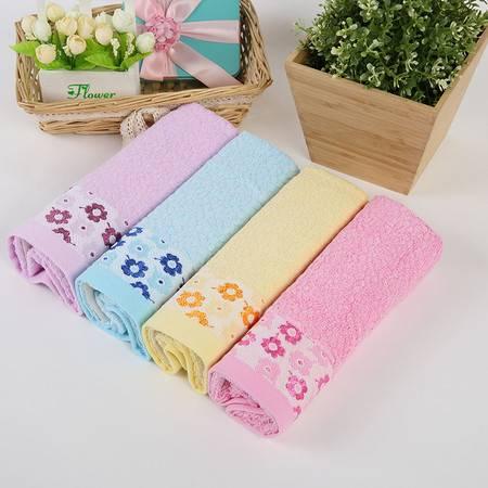 竹派 竹纤维毛巾 玫瑰绣花毛巾4条装小礼盒 送礼佳品 品质家庭装