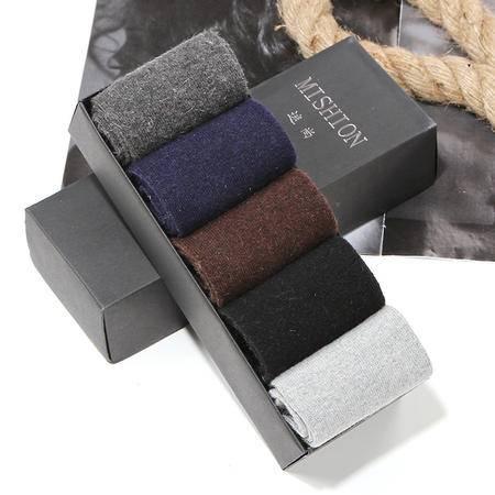 MS 秋冬新款 纯色兔羊毛袜 男士盒装礼品袜子 5双装