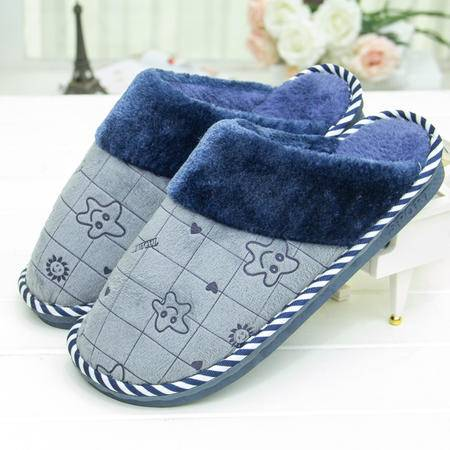 HZ 新款海星棉拖鞋女男士居家舒适保暖厚底 冬季毛毛拖鞋