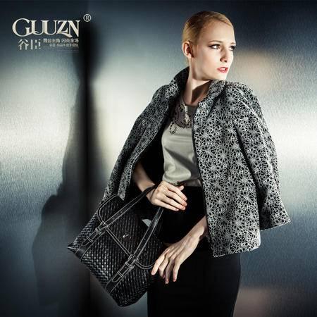 欧美复古风大气商务纯色编织牛皮手提包单肩斜跨女包包GC