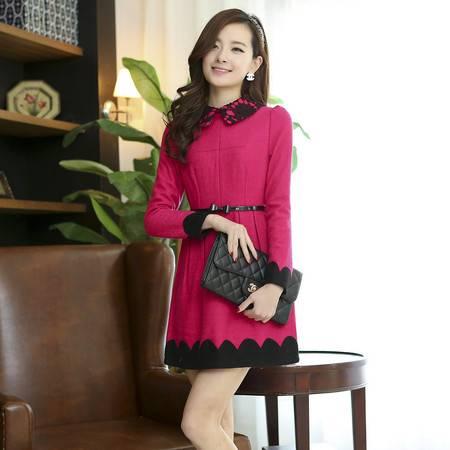 春装新款 韩版蕾丝拼接显瘦长袖连衣裙配腰带