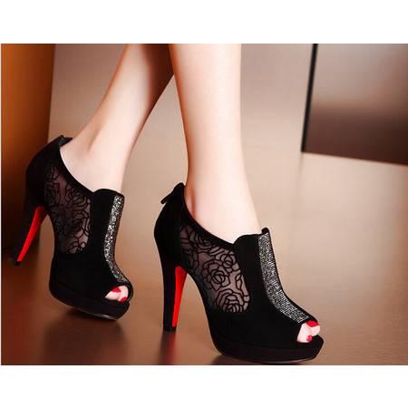 moolecole/莫蕾蔻蕾 透气玫瑰网纱鱼嘴水钻高跟鞋时尚女鞋包邮