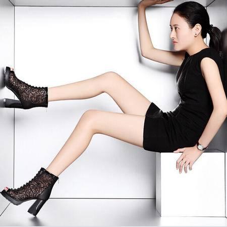 moolecole/莫蕾蔻蕾 水钻网纱蕾丝粗跟鞋时尚女鞋包邮