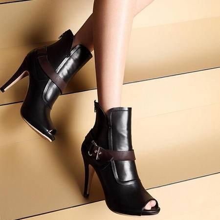 moolecole/莫蕾蔻蕾 头层牛皮单鞋鱼嘴高跟女鞋时尚女鞋包邮