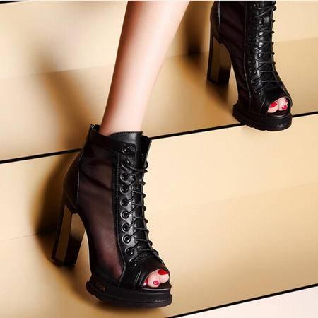 moolecole/莫蕾蔻蕾鱼嘴网纱绑带粗跟时尚女鞋包邮