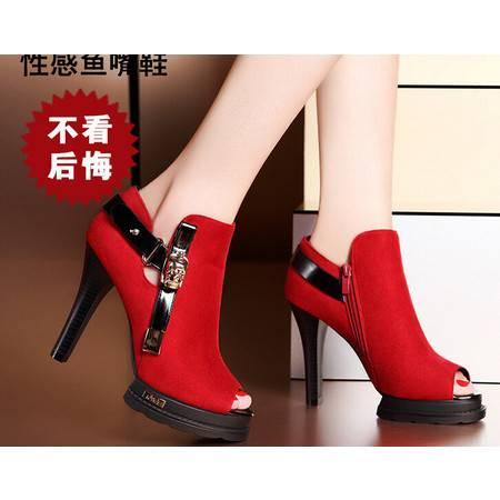 moolecole/莫蕾蔻蕾 新款时尚性感鱼嘴粗跟鞋时尚女鞋包邮